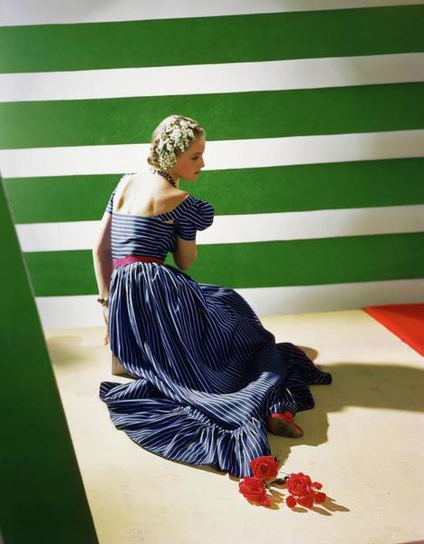 Wall Art - Photograph - Model In A Striped Blue Dress by Horst P. Horst
