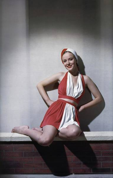Swimsuit Photograph - Model In A Swimsuit Ensemble by Horst P. Horst