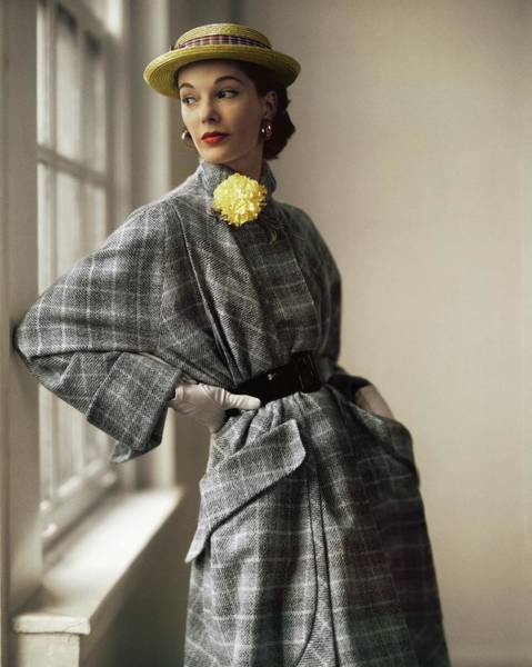 Photograph - Model In A Willi Plaid Coat by Horst P. Horst