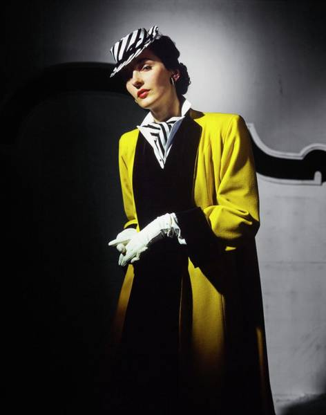 Wall Art - Photograph - Model In A Yellow Coat by Horst P. Horst