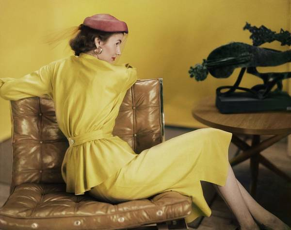 Photograph - Model In A Yellow Dress Ensemble by Horst P. Horst