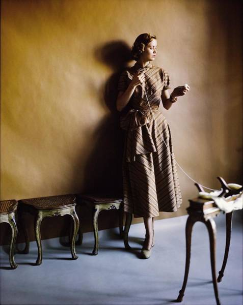 Wall Art - Photograph - Model In An Adele Simpson Dress by Horst P. Horst
