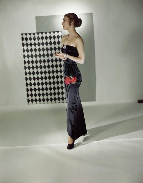 Wall Art - Photograph - Model In An Adele Simpson Gown by Horst P. Horst