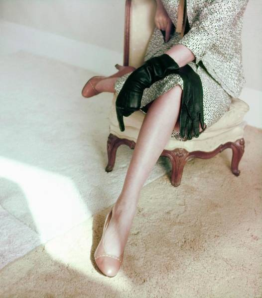 Wall Art - Photograph - Model In Brown Palizzio Pumps by Horst P. Horst