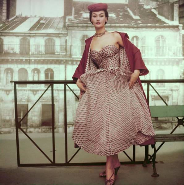 Photograph - Model In Christian Dior's 'rose Pompon' by Henry Clarke