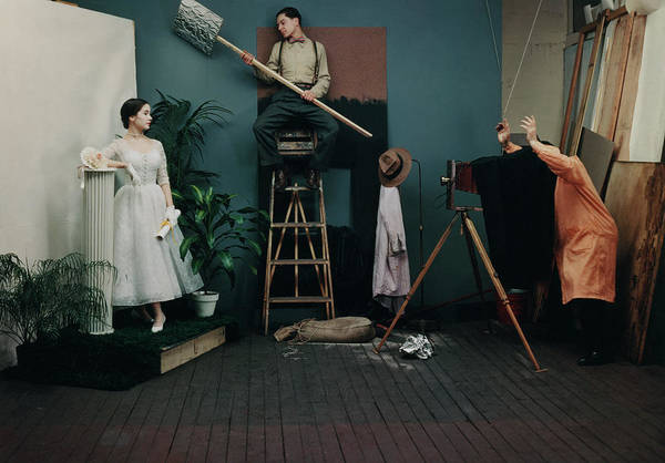 Photograph - Model, Photographer, And Assistant On Set For Glamour Shoot by Diane Arbus
