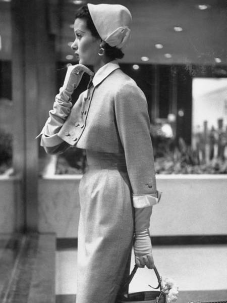 Photograph - Model Posing In A Train Station Wearing by Gordon Parks