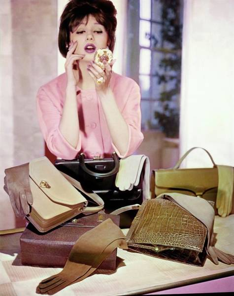 Wall Art - Photograph - Model Using A Compact By Handbags by Horst P. Horst