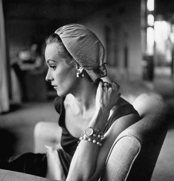 Photograph - Model Wearing Dusting Cap Of Calico On F by Gordon Parks