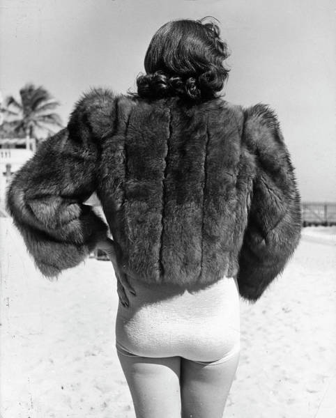 Fashion Model Photograph - Model Wearing Fur Jacket Over Bathing Su by Alfred Eisenstaedt