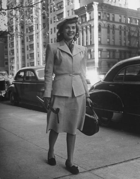 Suit Photograph - Model Wearing Goatskin Suit Processed T by Nina Leen