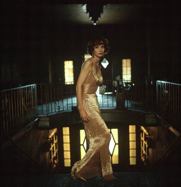 Model Wearing Gold-beaded Sheath Gown Art Print by Gordon Parks
