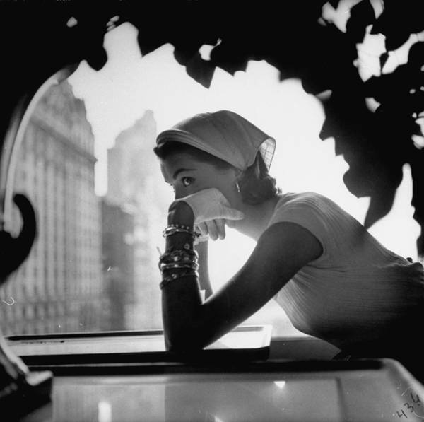 Photograph - Model Wearing Nursemaids Kerchief Which by Gordon Parks