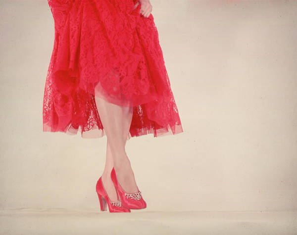 Red Dress Photograph - Model Wearing Rhinestone-trimmed Red Sat by Gjon Mili