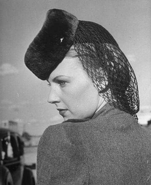 Hats For Sale Photograph - Model Wearing Sheared Beaver Hat Featuri by Alfred Eisenstaedt