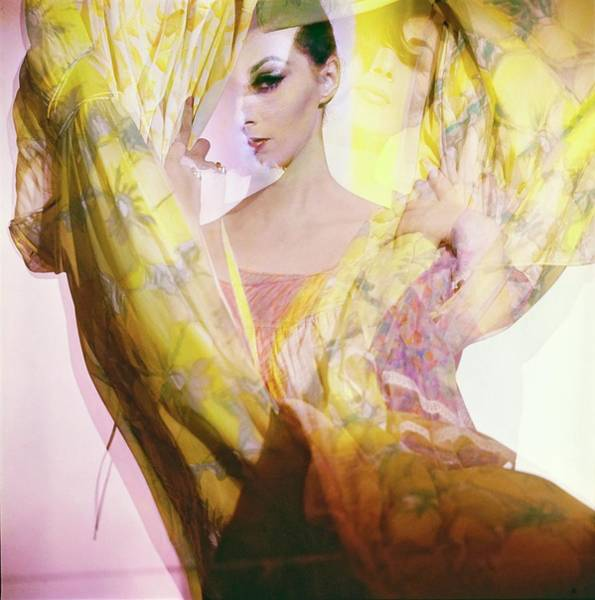 Shaded Photograph - Model With Nightgowns by Horst P. Horst