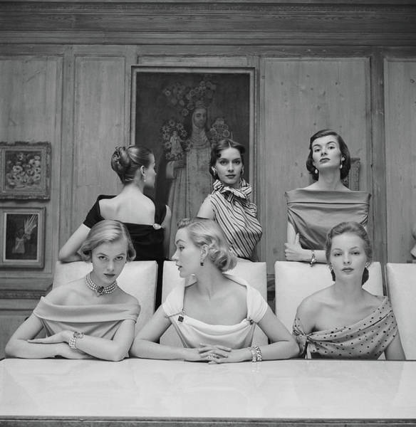 Evening Wear Photograph - Models In Blouse by Nina Leen