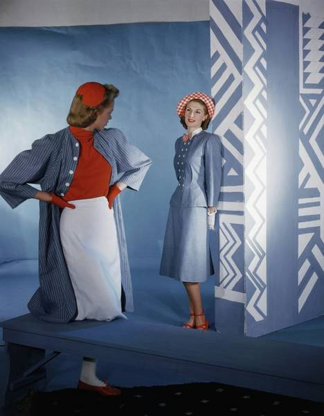 Photograph - Models In Claire Mccardell Denim Ensembles by Horst P. Horst