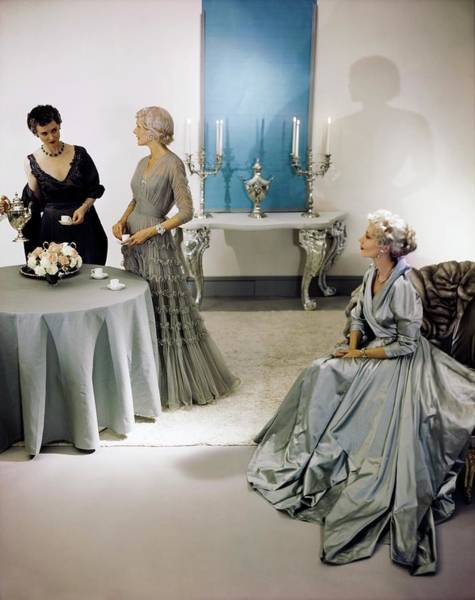 Photograph - Models In Eta Evening Gowns by Horst P. Horst