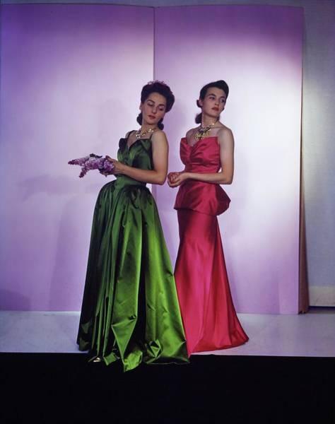 Photograph - Models In Nettie Rosenstein Satin Gowns by Horst P. Horst