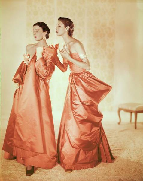 Champagne Photograph - Models In Orange Silk Gowns by Horst P. Horst