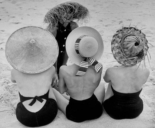 Photograph - Models On Beach Wearing Different Design by Nina Leen