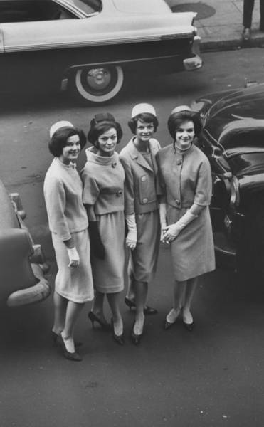 Photograph - Models Wearing Oleg Cassini Suits And by Yale Joel