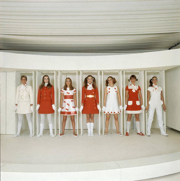 Red Dress Photograph - Models Wearing Red And White by Bill Ray