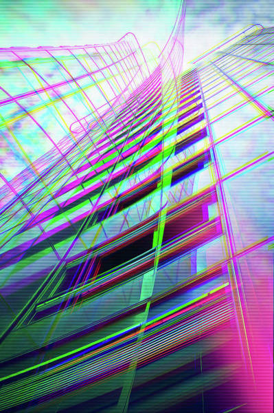 Highrise Digital Art - Modern Architecture Glitch Art by Matthias Hauser