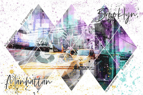 Wall Art - Mixed Media - Modern Art Coordninates Manhattan And Brooklyn by Melanie Viola
