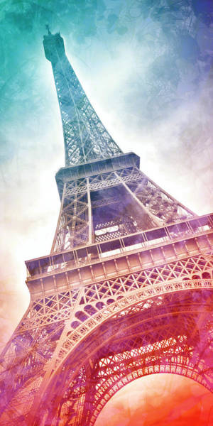 Wall Art - Mixed Media - Modern Art Eiffel Tower - Panorama by Melanie Viola
