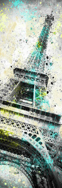 Wall Art - Mixed Media - Modern Art Eiffel Tower Splashes - Panorama by Melanie Viola