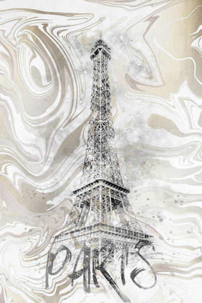 Wall Art - Digital Art - Modern Art Eiffel Tower - Watercolor Gold by Melanie Viola