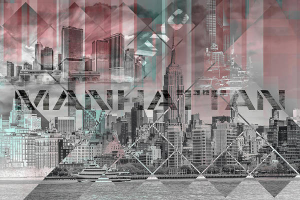 Wall Art - Mixed Media - Modern Art Manhattan Collage by Melanie Viola