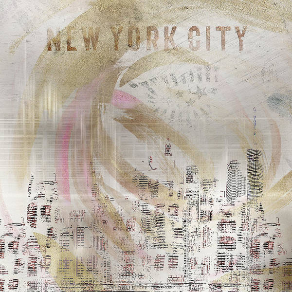 Wall Art - Mixed Media - Modern Art New York City Skylines - Golden Swirl by Melanie Viola