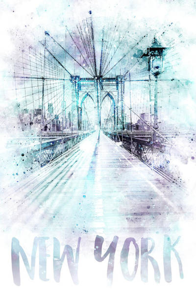 Wall Art - Photograph - Modern Art Nyc Brooklyn Bridge - Jazzy Watercolor by Melanie Viola