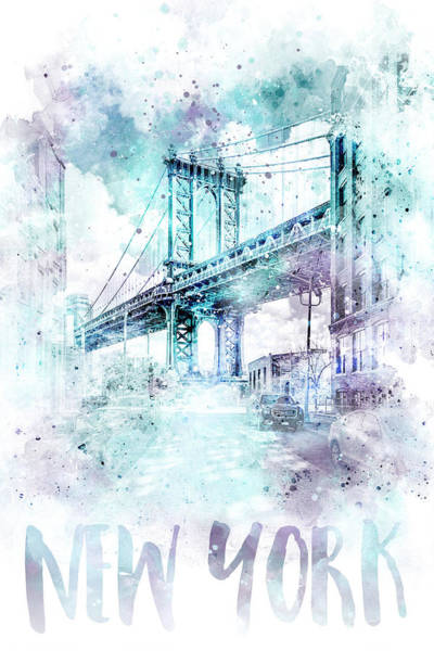 Wall Art - Mixed Media - Modern Art Nyc Manhattan Bridge - Jazzy Watercolor by Melanie Viola