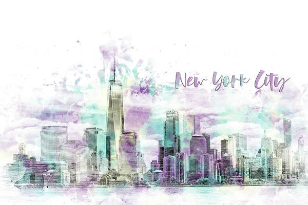 Wall Art - Digital Art - Modern Art Nyc Manhattan Skyline - Jazzy Watercolor  by Melanie Viola