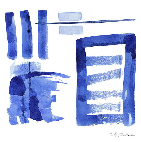 Wall Art - Painting - Modern Asian Inspired Abstract Blue And White 2 by Audrey Jeanne Roberts