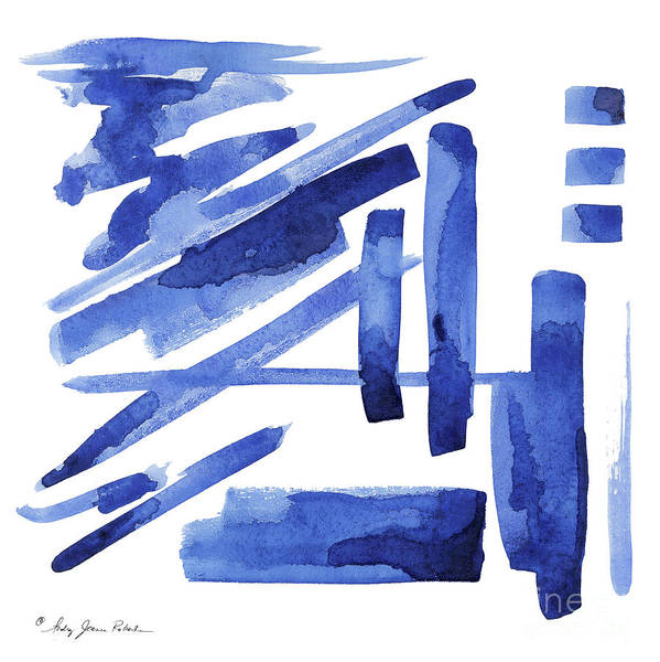 Wall Art - Painting - Modern Asian Inspired Abstract Blue And White 3 by Audrey Jeanne Roberts