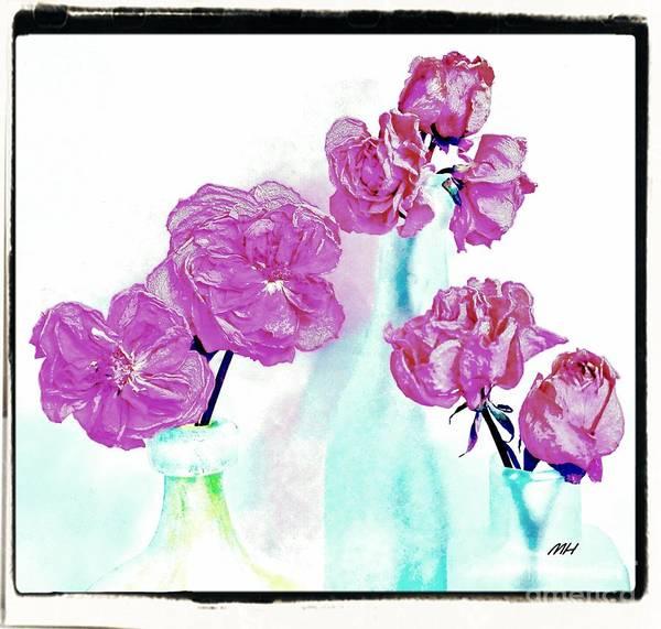 Wall Art - Digital Art - Modern Dried Flowers In Bottles by Marsha Heiken