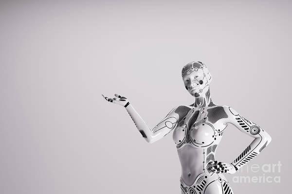 Wall Art - Photograph - Modern Female Robot On White Background. by Michal Bednarek