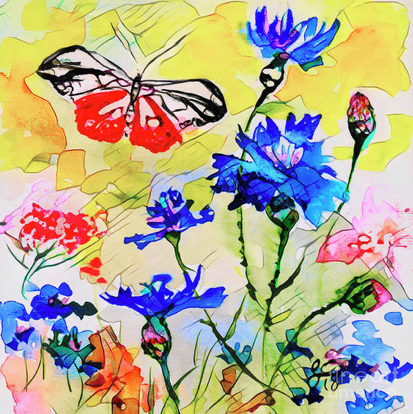 Mixed Media - Modern Floral Art Butterfly Cornflowers by Ginette Callaway