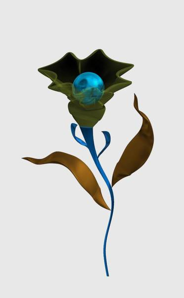 Digital Art - Modern Flower With Blue Sphere by Alberto RuiZ