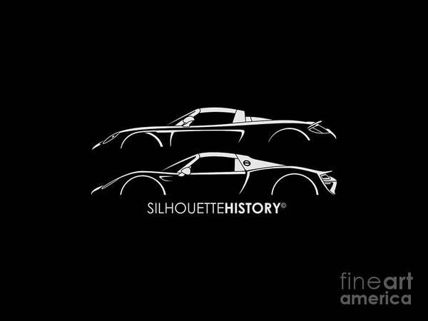 Wall Art - Digital Art - Modern German Supercar Silhouettehistory by Gabor Vida