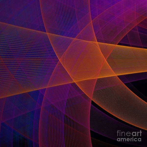 Wall Art - Digital Art - Modern Pink, Purple And Orange Fractal by Jennifer Gottschalk