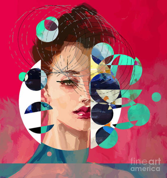 Wall Art - Digital Art - Modern Style Portrait Of A Lady With by Alisa Franz