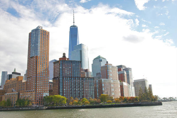 Battery Park Wall Art - Photograph - Modern Tall Buildings And Park In Fall by Barry Winiker