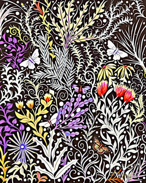 Tapestry - Textile - Modern Tapestry Design In Black, White, Purple And Yellow by Lise Winne