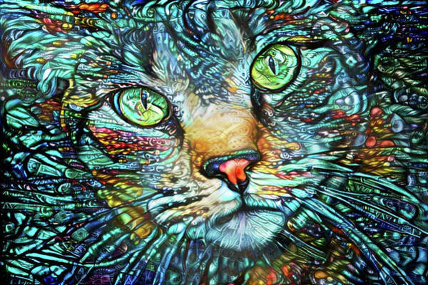 Digital Art - Moe The Colorful Tabby Cat by Peggy Collins